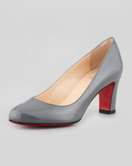 Mistica Low-Heel Red Sole Pump, Gray