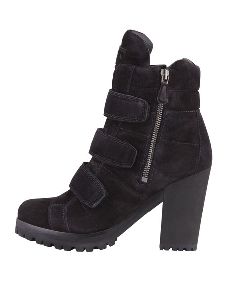 Suede Triple-Strap Ankle Boot, Black