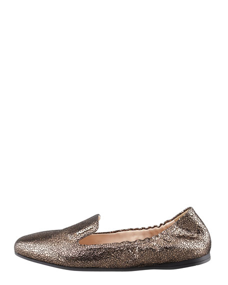 Crackled Leather Smoking Slipper, Pewter