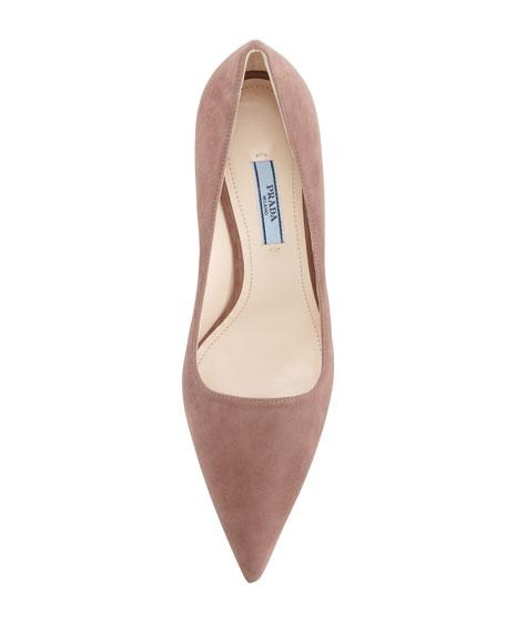 Low-Heel Suede Pointed-Toe Pump, Dark Rose