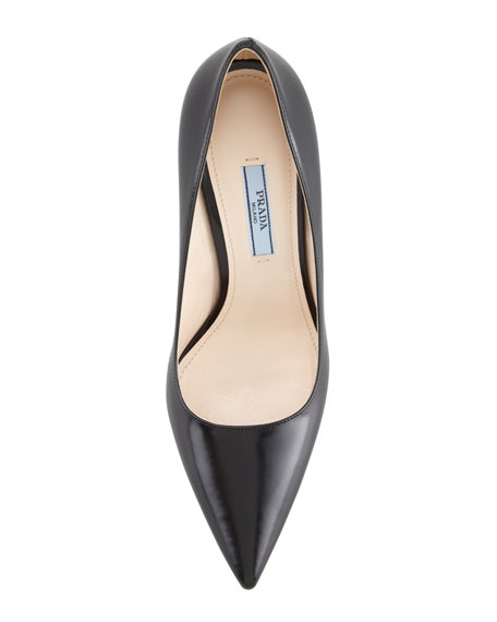 Point-Toe Platform Leather Pump, Black