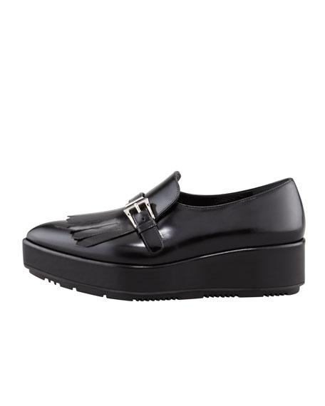 Leather Tassel Platform Loafer, Black