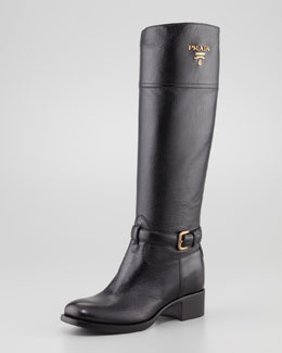 Prada Tall Pebbled Leather Riding Boot, Black