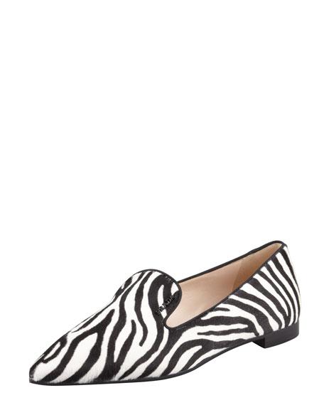 Zebra-Print Calf Hair Slipper, White/Black
