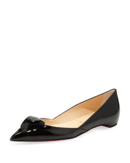 Christian Louboutin Philaer Patent Ornament-Toe Skimmer, Black