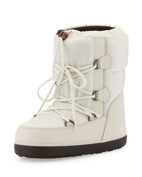 Short Quilted Snow Boot, Cream