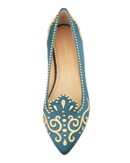 Countessa Crown Embroidered Satin Flat, Teal