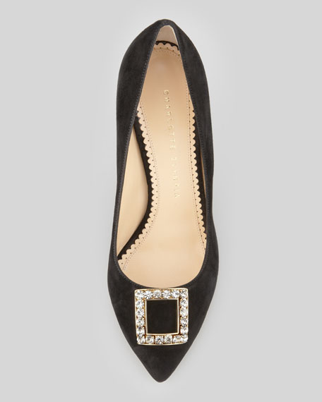 Eleanor Crystal-Buckle Suede Pump, Black