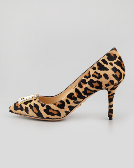 Eleanor Crystal-Buckle Calf Hair Pump, Leopard