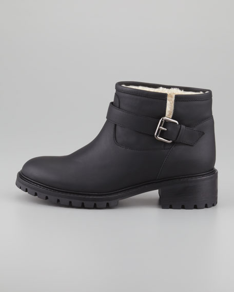 Shearling-Lined Motorcycle Boot, Black