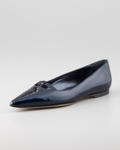 Kavanga T-Bar Pointy-Toe Flat, Navy