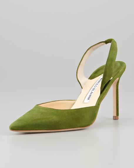 Carolyne Suede Halter Pump, Green