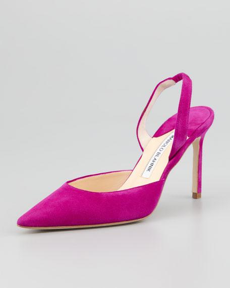 Carolyne Suede High-Heel Halter, Magenta