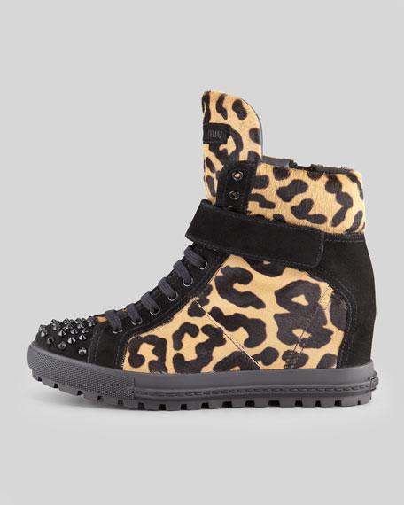 Leopard-Print Calf Hair Wedge Sneaker