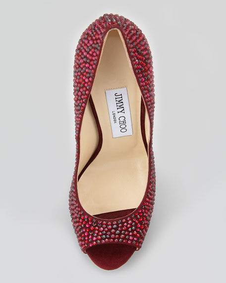 Kendall Beaded Platform Pump, Dark Red