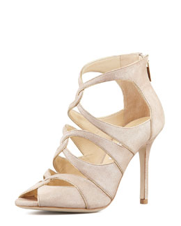 Jimmy Choo Leash Shimmer Suede Sandal, Neutral