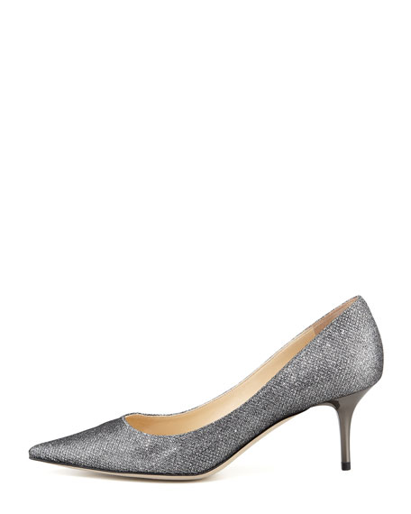 Aurora Glitter Point-Toe Pump, Pewter