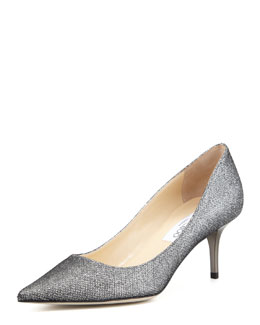 Jimmy Choo Aurora Glitter Point-Toe Pump, Pewter