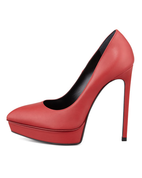 Janis Pointed-Toe Platform Pump, Red