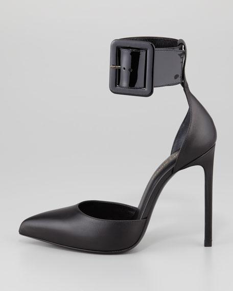 Paris Buckled Ankle-Strap Pump, Black