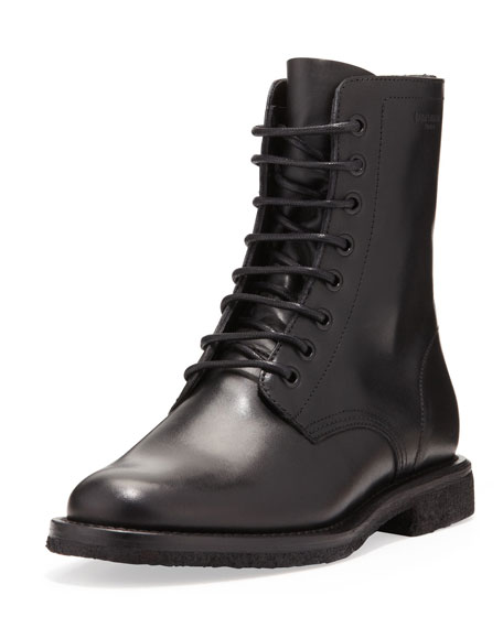 Saint Laurent Flat Lace Up Ranger Boot Black