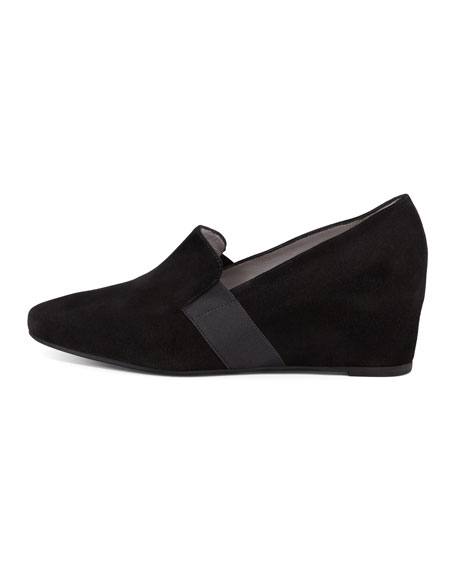 Paige Wedge Suede Loafer, Black