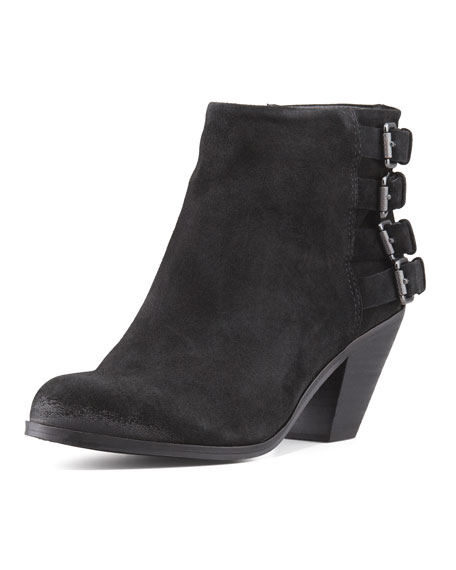 Lucca Buckled Suede Bootie, Black