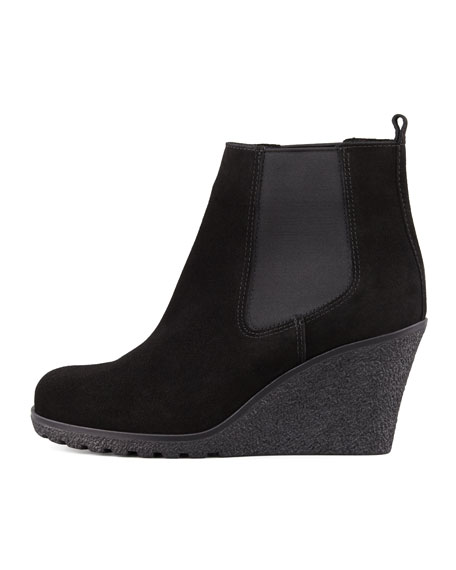 Kelsey Suede Wedge Bootie, Black