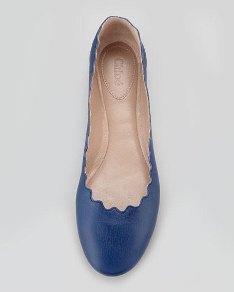 Scalloped Leather Ballerina Flat, Navy
