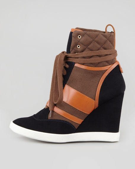 Mixed-Media Wedge High-Top Sneaker, Black/Brown