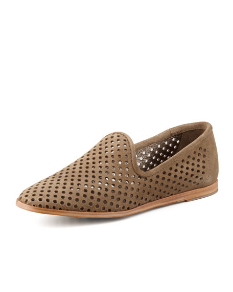 Yasmin Perforated Suede Loafer, Taupe