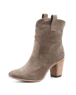Alberto Fermani Chiara Slouchy Suede Ankle Boot, Light Gray