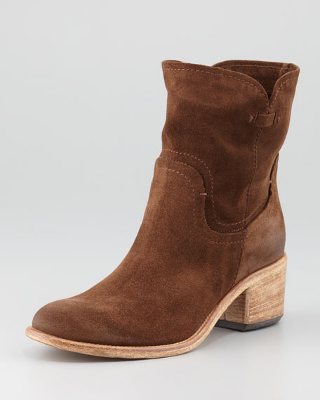 Stephania Slouchy Suede Bootie, Brown
