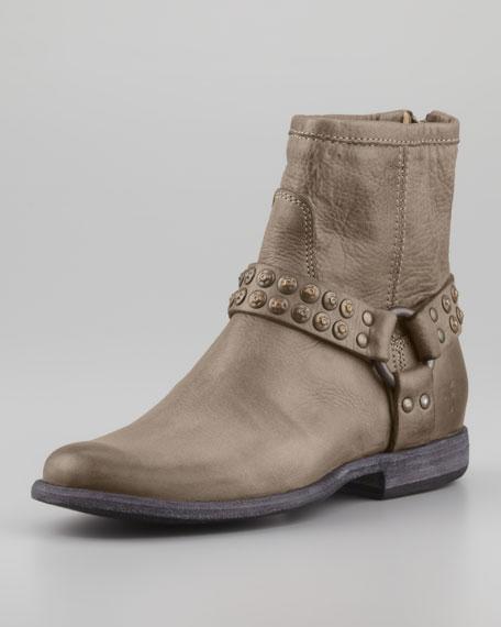 Phillip Studded-Harness Short Boot, Gray