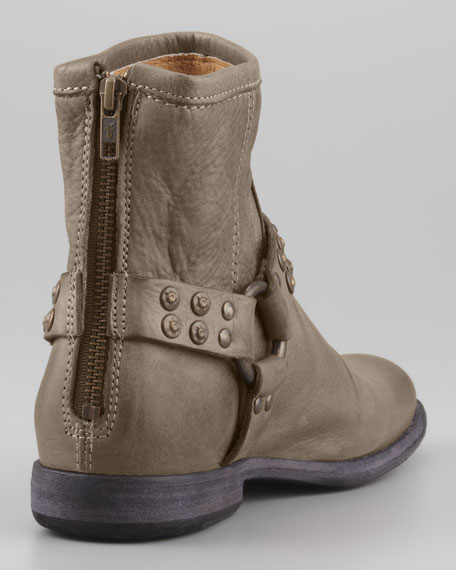 Phillip Studded-Harness Short Boot, Gray