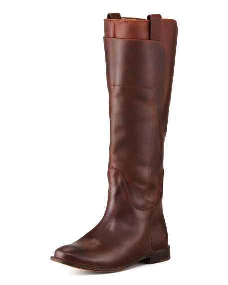 Paige Tall Leather Riding Boot, Cognac