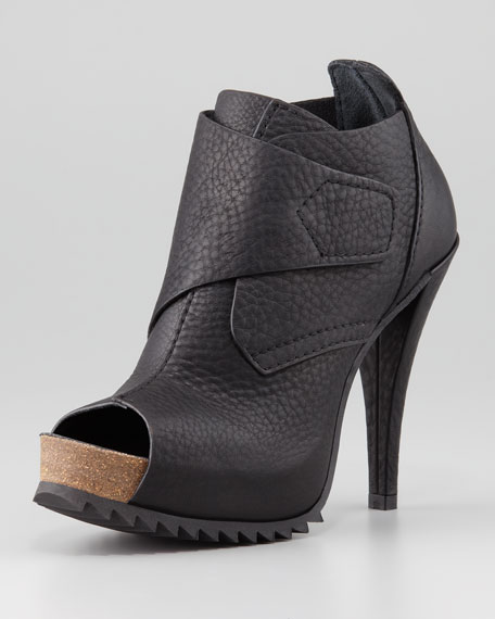 Chenoa Open-Toe Tread Bootie, Black