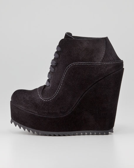 Frida Suede Lace-Up Wedge, Black