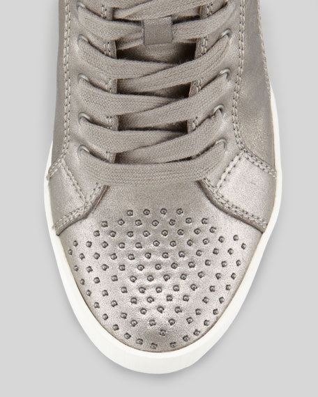 Helsinki Studded Wedge Sneaker, Pewter