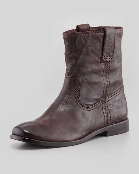 Anna Pull-On Leather Bootie, Dark Brown