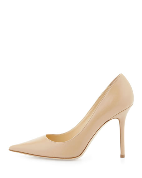 Jimmy Choo Abel Leather Pointy-Toe Pump, Nude