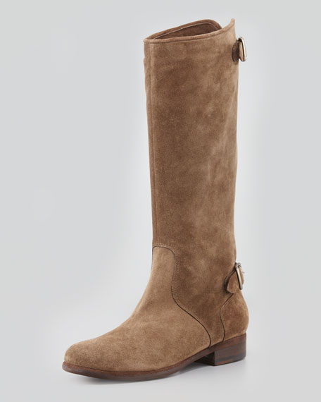 Suede Zip-Back Knee Boot