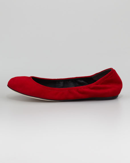 Lillian Suede Ballerina Flat, Red