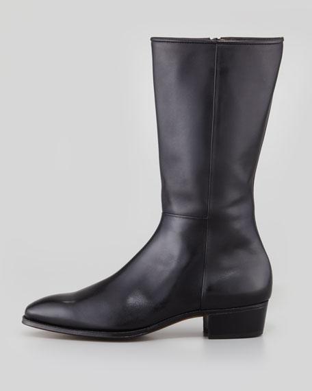 Mid-Calf Side-Zip Boot, Black