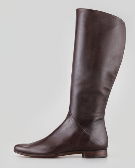 Tall Leather Boot, Medium Brown