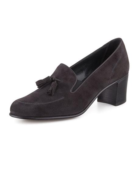 High-Heel Tassel Loafer, Gray