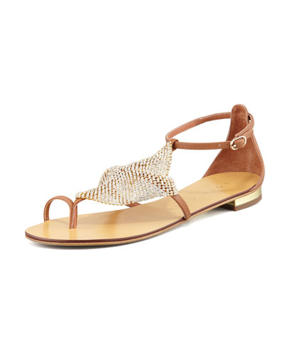 Lola Cruz Crystal-Mesh Toe-Ring Flat Sandal