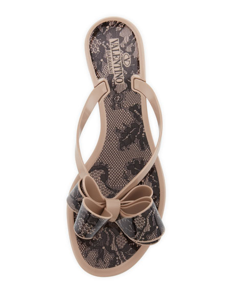 Lace-Print Bow Jelly Thong Sandal, Poudre/Black