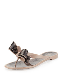 Valentino Lace-Print Bow Jelly Thong Sandal, Poudre/Black