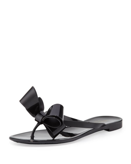 Couture Bow Jelly Thong Sandal, Black
